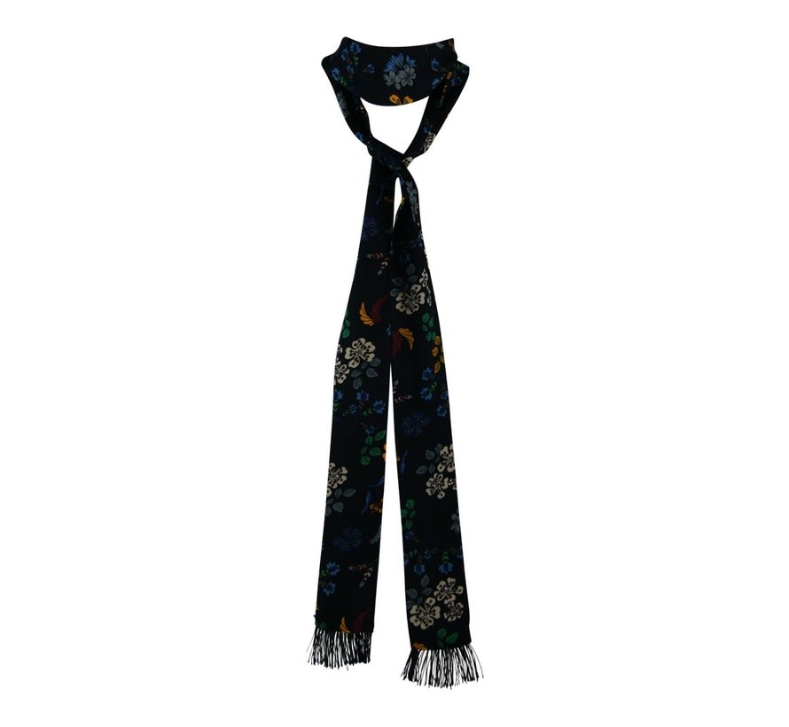 Slim Tie - retro flower scarf