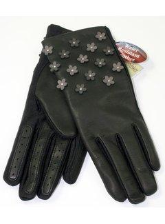 Randers Handskefabrik Btn Lamb 1/2 pique-Woolmix-Black-Flowers