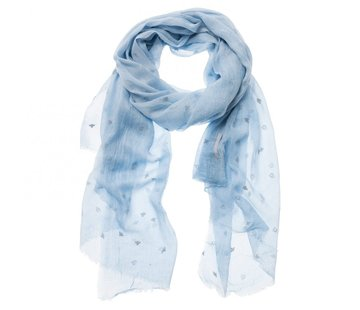 YAYA LIGHT SCARF WITH PRINT-LIGHT CHAMBRAY-U