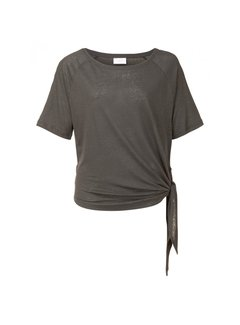 YAYA Linen ss tee with knot detail