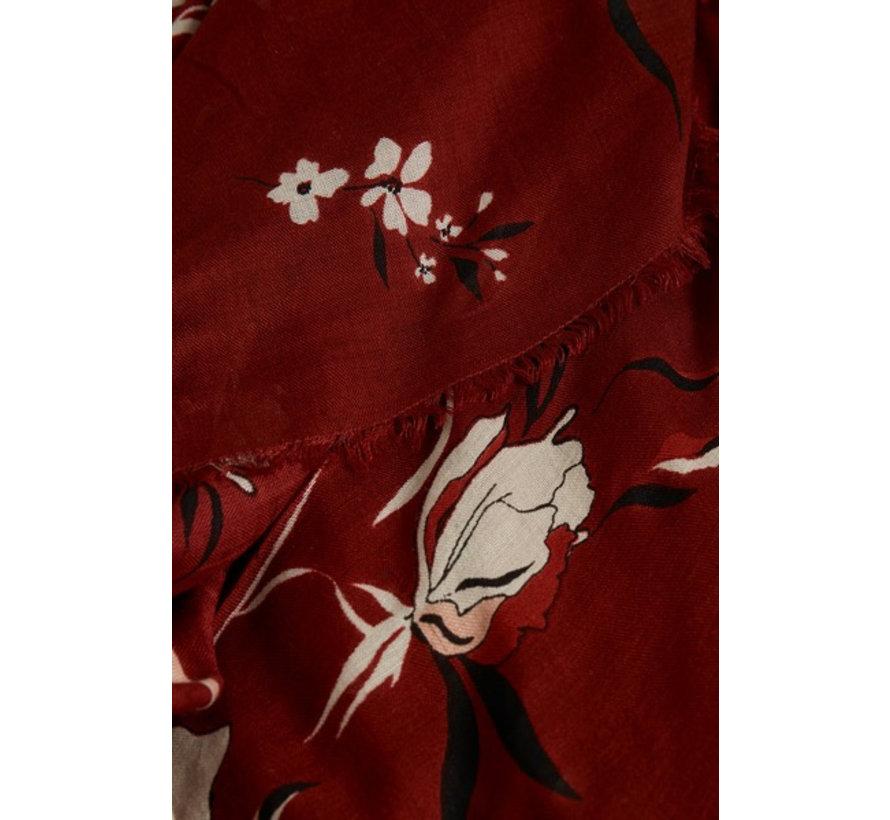 Brixton scarf-Artwork Dark Red
