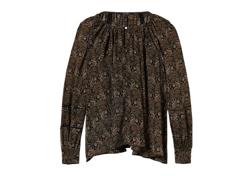 Maison Scotch Voluminous sheer printed top wit laddee details