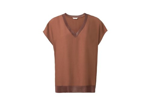 YAYA V-NECK TOP WITH CAP SLEEVES