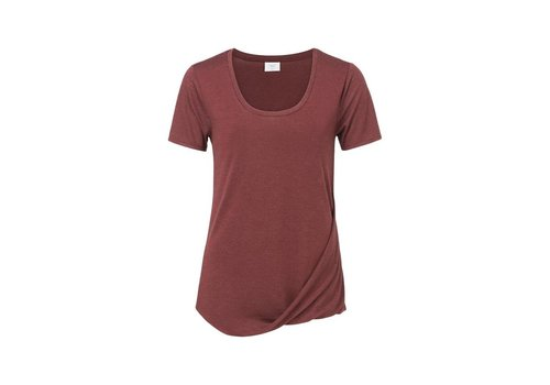 YAYA T-Shirt with drape detail and deep round neck