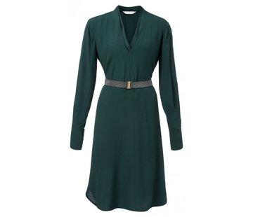 YAYA V-Neck dress with removable metallic belt