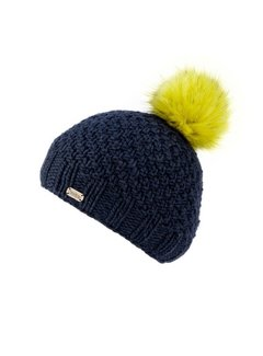 Kusan Mos Yarn Bobble Hat w/Faux Fur