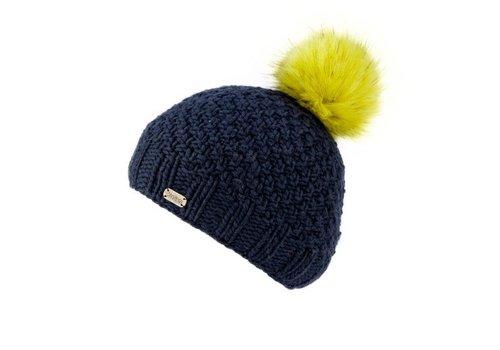 Kusan Mos Yarn Bobble Hat w/Faux Fur