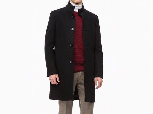 Calvin Klein Mantel aus Kaschmirwolle mit Tunnelkragen