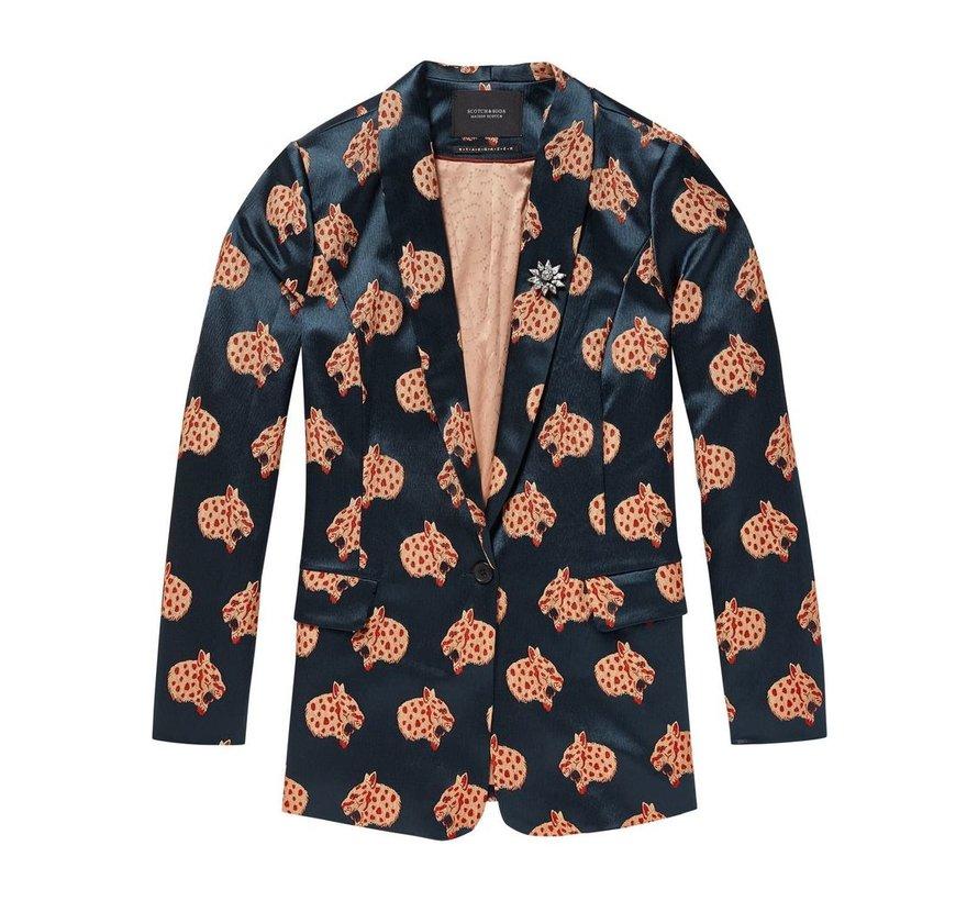 Snow leopard jacquard blazer