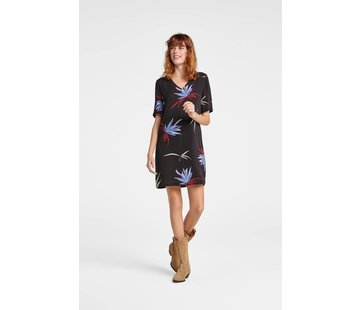 YAYA Straight V-neck dress with floral print