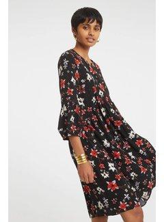 YAYA Fließendes Kleid mit Blumen-Print und Stickerei