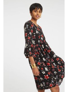 YAYA Flowy dress with flower print and embroidery