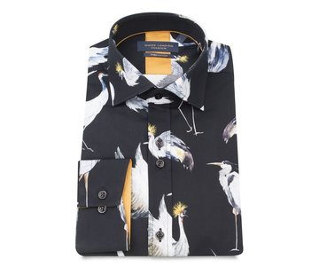 Guide London katoenen shirt met vogelsprint