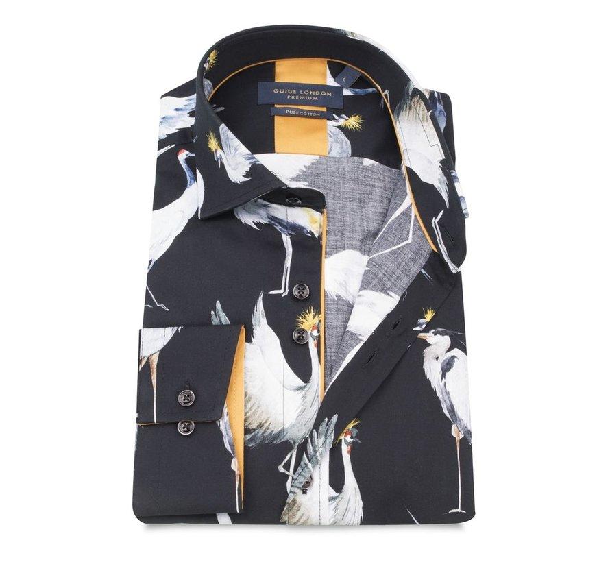 katoenen shirt met vogelsprint
