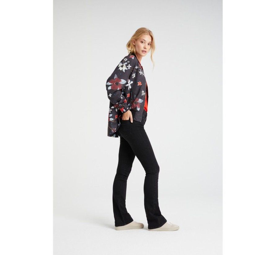 Bomber coat with flower print
