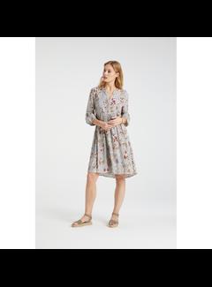 YAYA Flowy V-neck dress with paisley print