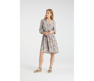 YAYA Flowy V-neck dress with paisley print