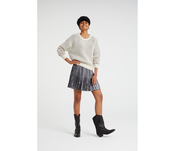 YAYA Shiny plaited skirt with velvet trim