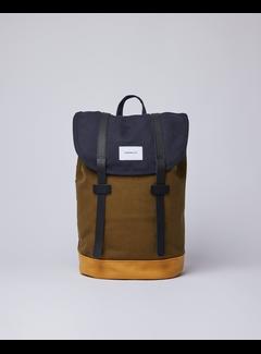 Sandqvist Stig Multi Navy/Dark Olive/Honey Yellow with Black Leather