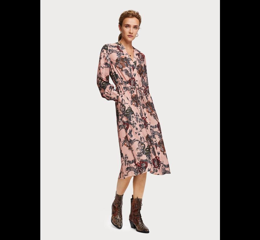 Zijdezachte midi-jurk