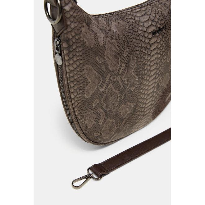 Half-moon bag snakeskin effect