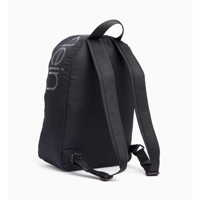 Nylon Twill Round Backpack -Black