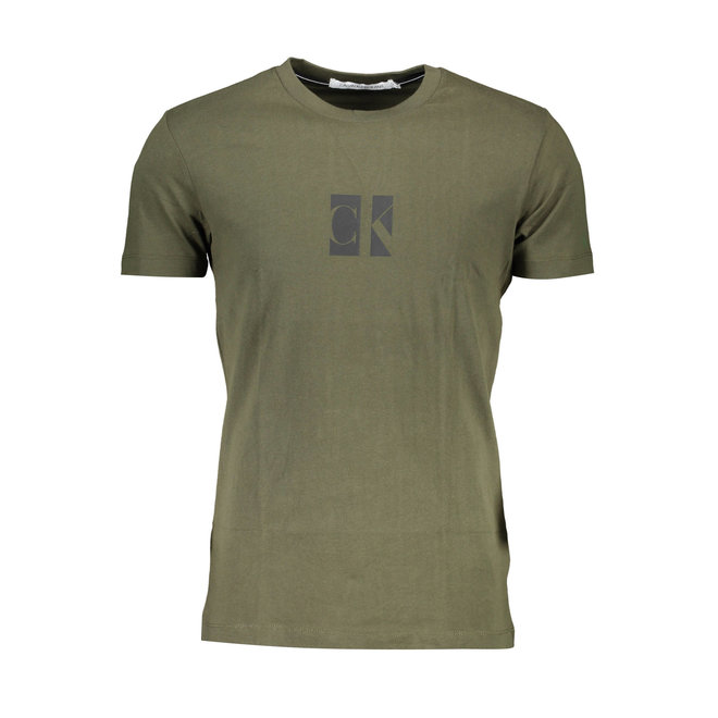 Slim organic cotton logo T-shirt - Army Green