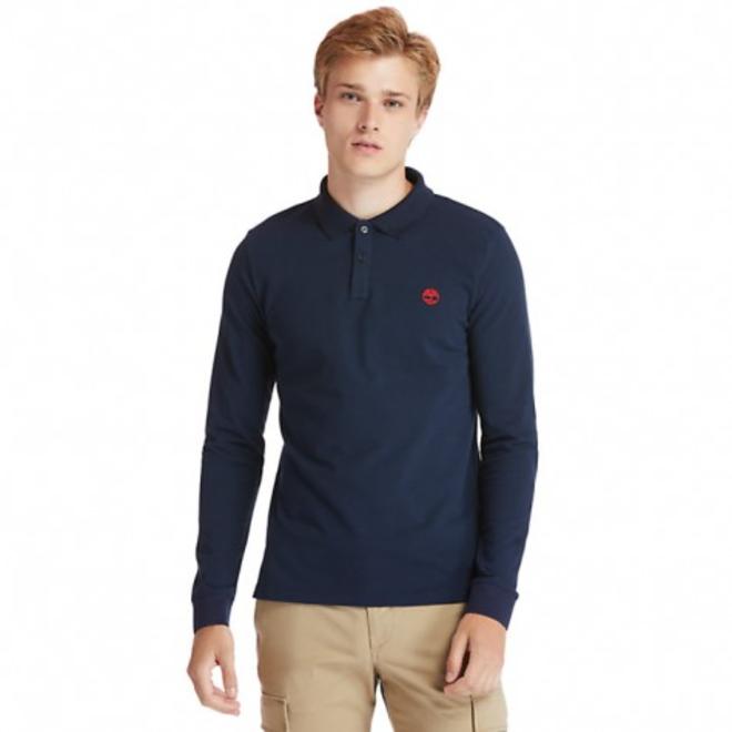 Men's Millers River Long Sleeve Polo Shirt -Blue