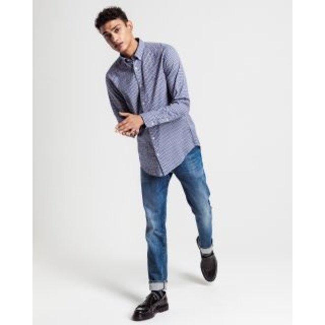 Regular Fit Check Windblown Oxford Shirt -Blue