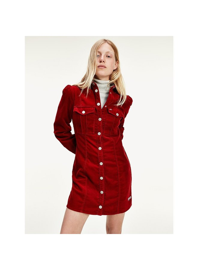 Corduroy Fitted Shirt Dress