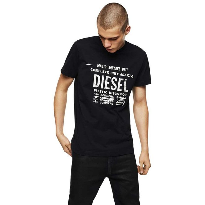 T-Diego B6 Industrial Print T-Shirt - Black