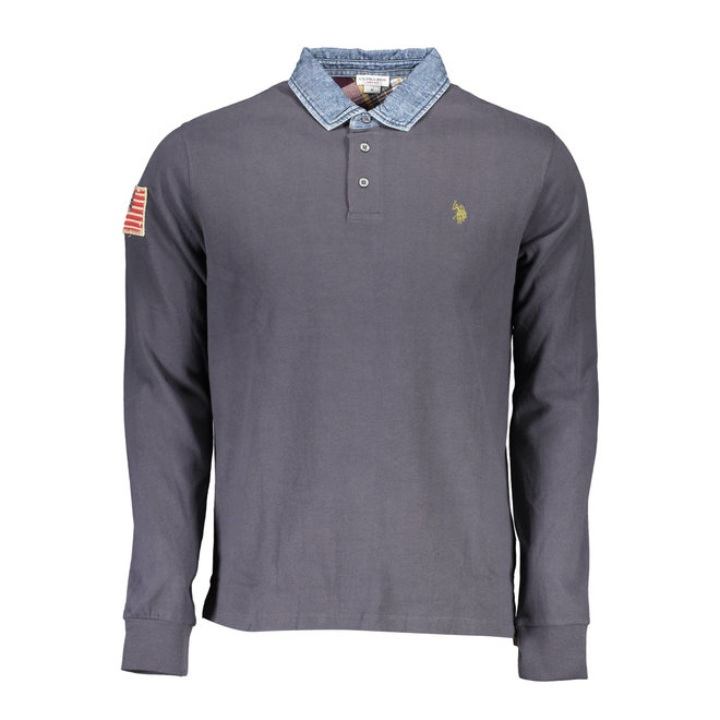 Long Sleeve Polo Shirt with patches - Steel Grey