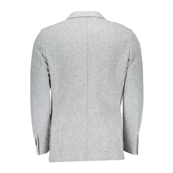 Slim Boiled Wool Blazer - Light Grey
