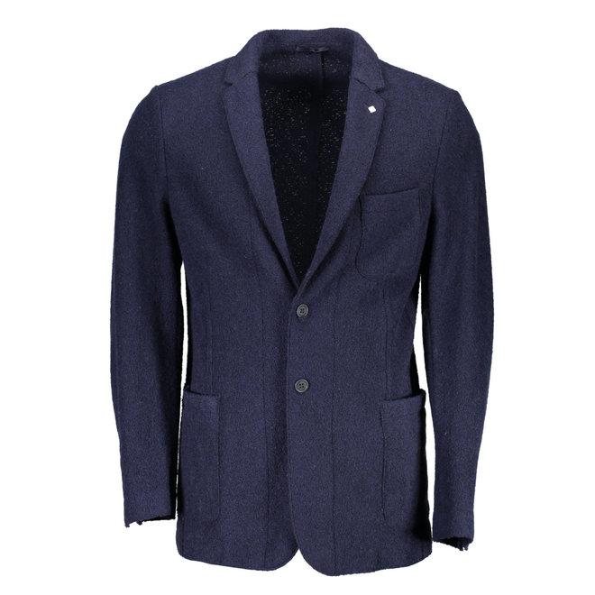 Slim Boiled Wool Blazer - Navy Blue