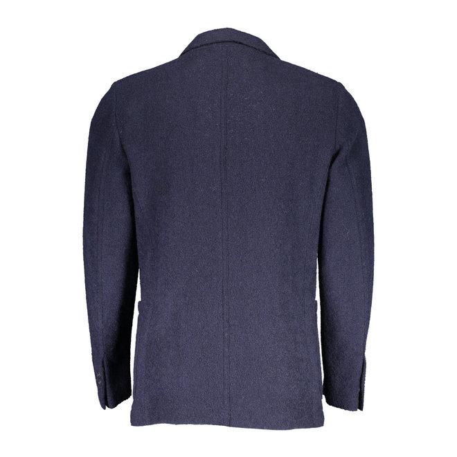 Slim Boiled Wool Blazer - Blue