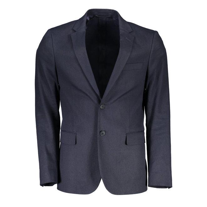 Stretch Linen Blazer -  Dark blue