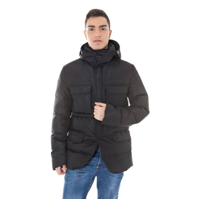 Padded hooded jacket - Black