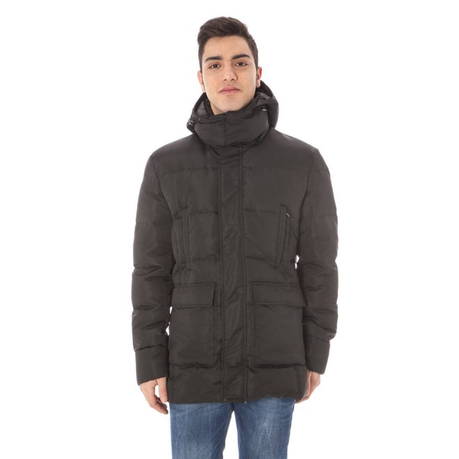 Quilted hooded jacket - Black