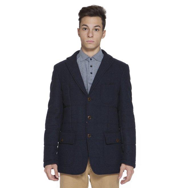 Quilted wool blazer - Blue