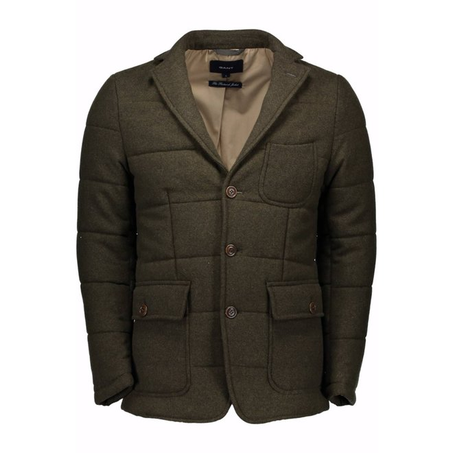 Quilted wool blazer - Army green