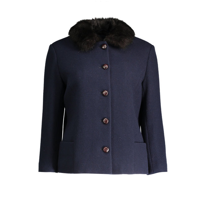 Wool Blazer jacket women  -Navy