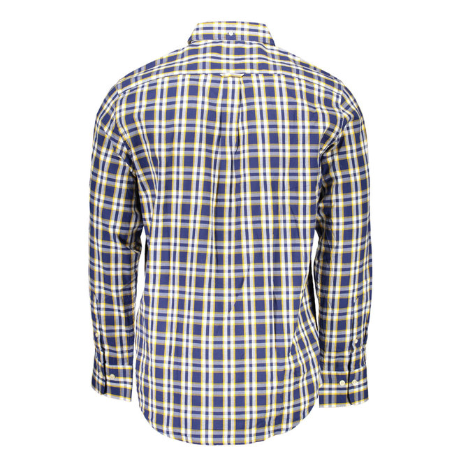 Checked Regular Fit Oxford  Shirt -Blue/yellow
