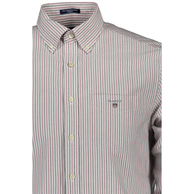 Regular Fit Two-Color Banker Oxford Shirt - Mahogny Red
