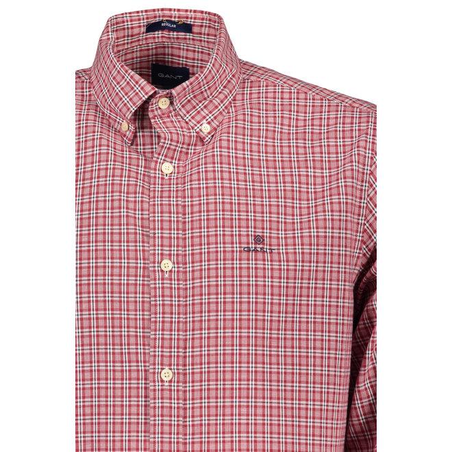 Regular Fit Check Windblown Oxford Shirt -Red