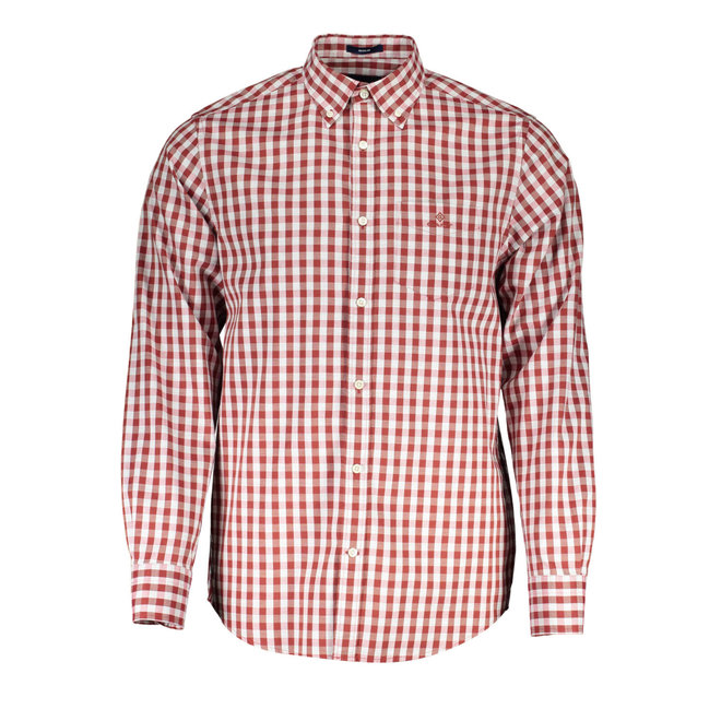 Regular Fit Gingham Heather Oxford Shirt - Red