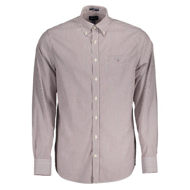 Regular Fit Banker Broadcloth Shirt - Burgundy