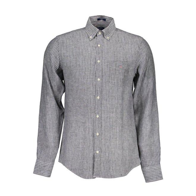 Fitted Body Linen Stripe Shirt - Black