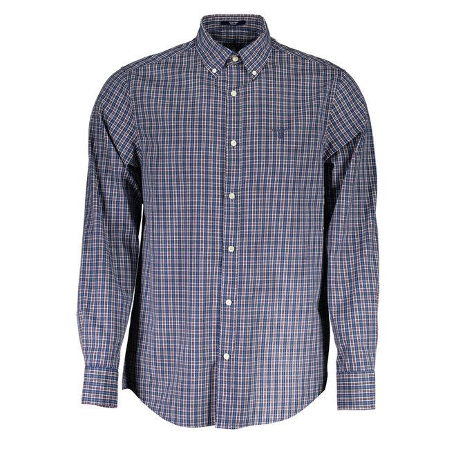 Regular Fit 2-Color Gingham Oxford Shirt - Blue/burgundy