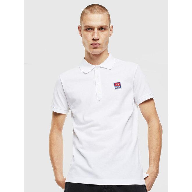 T-weet -split Pique polo shirt with double logo - White