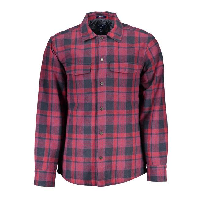 Padded Check Overshirt - Burgundy